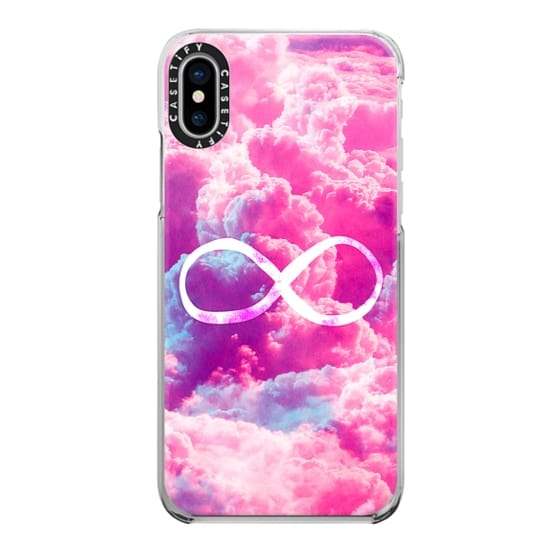 iPhone X Cases - Girly Infinity Symbol Bright Pink Clouds Sky