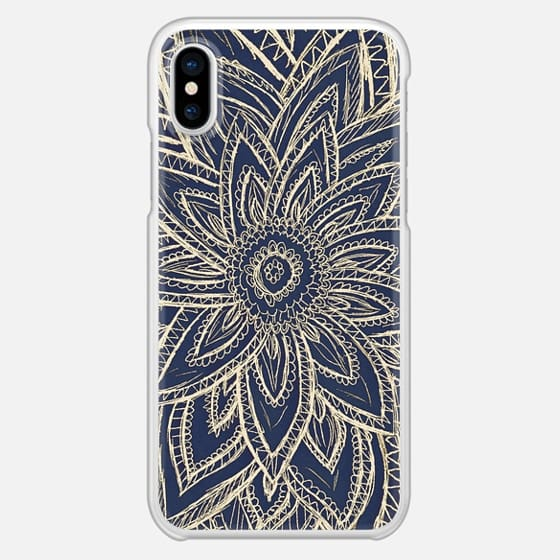 Cute Retro Gold abstract Flower Drawing on Black - Snap Case