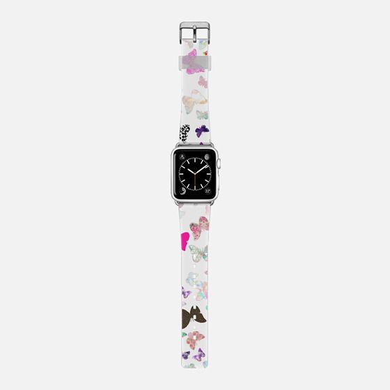 Cute butterflies pattern Apple watch - Saffiano Leather Watch Band