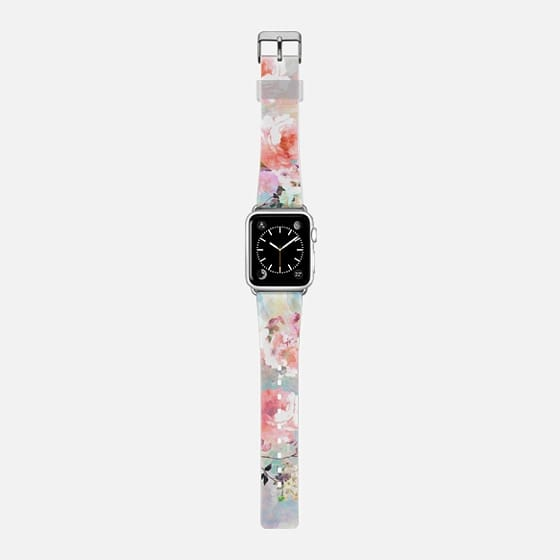 Romantic watercolor flowers pattern Apple watch - Saffiano Leather Watch Band