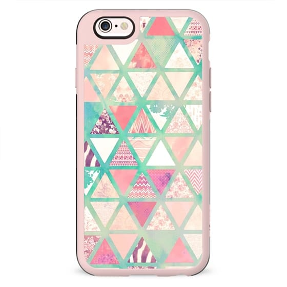 Pink Turquoise Abstract Floral Triangles Patchwork
