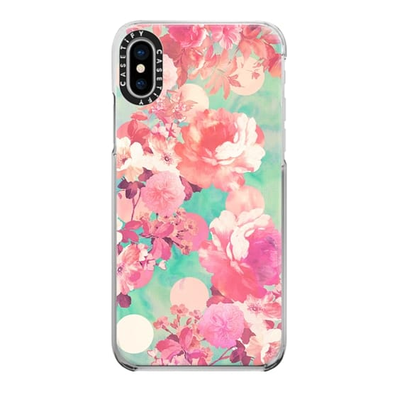 iPhone X Cases - Romantic Pink Retro Floral Pattern Teal Polka Dots
