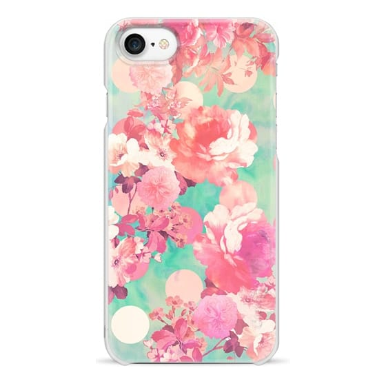 iPhone 7 Cases - Romantic Pink Retro Floral Pattern Teal Polka Dots