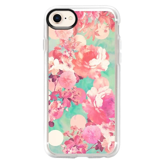 iPhone 8 Cases - Romantic Pink Retro Floral Pattern Teal Polka Dots