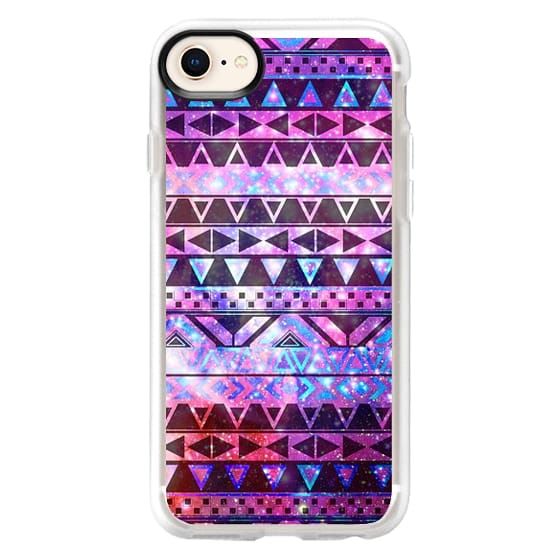 iPhone 8 Cases - Girly Andes Aztec Pattern Pink Teal Nebula Galaxy
