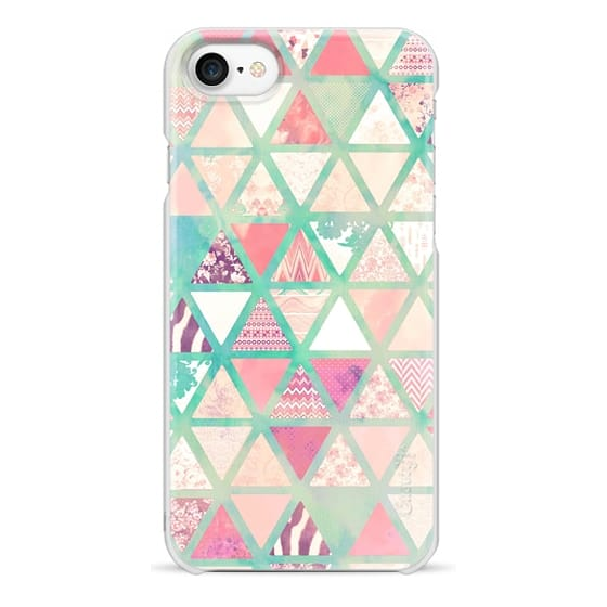 iPhone 7 Cases - Pink Turquoise Abstract Floral Triangles Patchwork