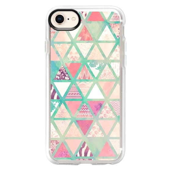 iPhone 8 Cases - Pink Turquoise Abstract Floral Triangles Patchwork