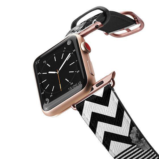 Apple Watch 38mm Bands - Black white floraal stripes chevron pattern watch