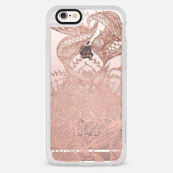 Modern rose gold abstract floral mandala illustration hand drawn by Girly Trend - New Standard Case