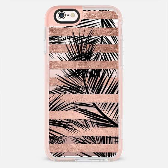 Modern rose gold stripes black palm tree pattern by Girly Trend - New Standard Pastel Case
