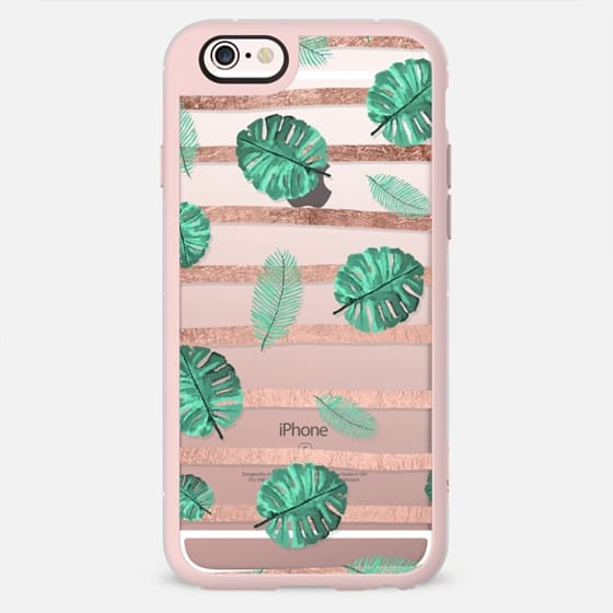 Modern green watercolor hand painted tropical exotic leaf pattern rose gold stripes by Girly Trend -