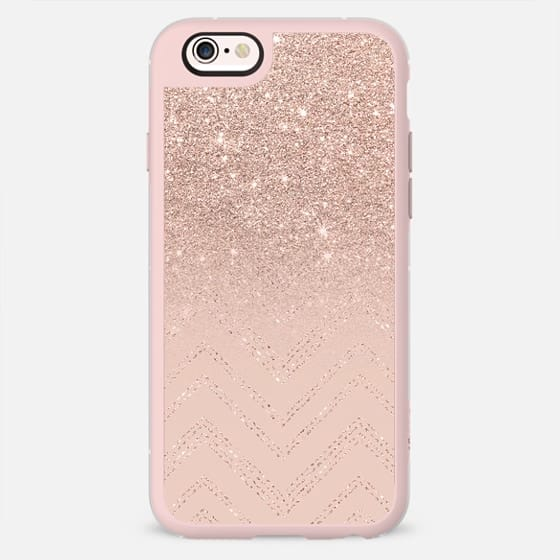 Chic elegant faux rose gold glitter ombre modern geometric chevron pattern fashion stitch on blush pink by Girly Trend -