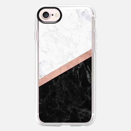 Modern black white marble color block rose gold foil stripe by Girly Trend - Classic Grip Case