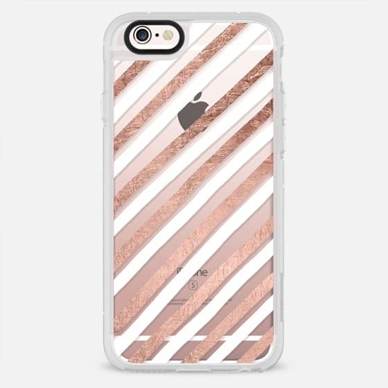 modern hand drawn white rose gold geometric stripes pattern by Girly Trend - New Standard Case