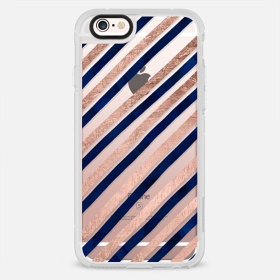 modern hand drawn navy blue rose gold geometric stripes pattern by Girly Trend - New Standard Case