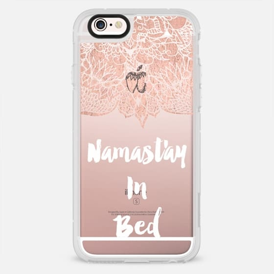 Modern rose gold foil handdrawn mandala namastay in bed yoga quote typography by Girly Trend - New Standard Case