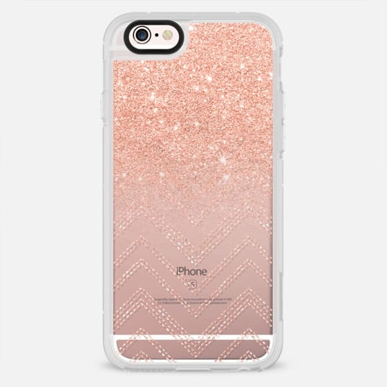 Chic faux salmon gold glitter ombre modern chevron pattern by Girly Trend - New Standard Case
