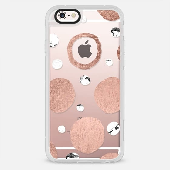 Modern rose gold foil white marble hand painted polka dots pattern by Girly Trend - New Standard Case