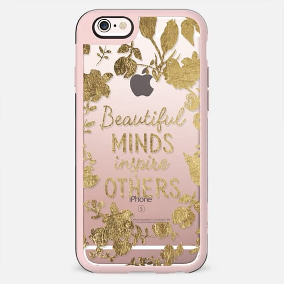 Modern faux gold foil typography quote beautiful minds inspire others floral wreath by Girly Trend - New Standard Case