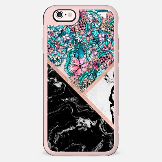 Modern black white marble rose gold stripe color block boho pink turquoise floral watercolor handdrawn by Girly Trend - New Standard Case