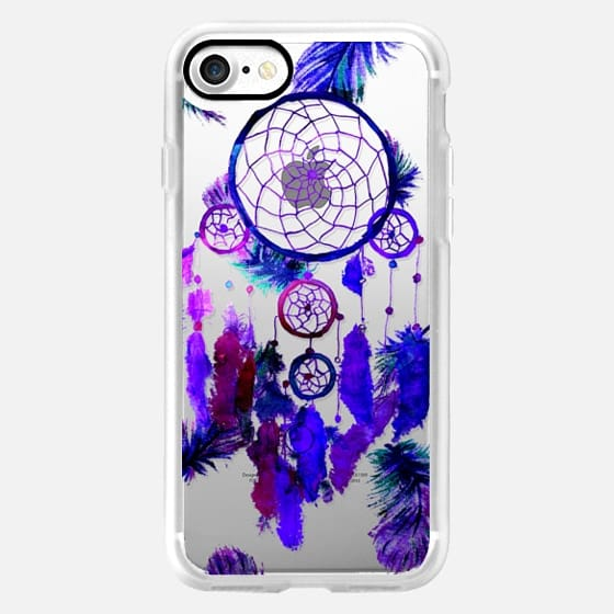 Modern boho watercolor purple blue dreamcatcher and feathers pattern hand paint transparent by Girly Trend -