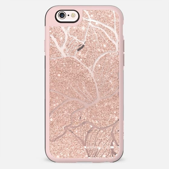 Modern girly faux rose gold glitter pink abstract floral pattern hand drawn by Girly Trend - New Standard Case