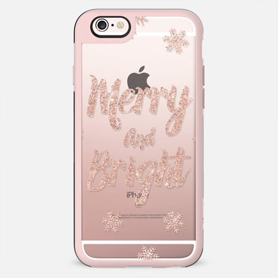 Holiday Christmas faux rose gold glitter typography Merry and Bright snowflakes transparent by Girly Trend - New Standard Case