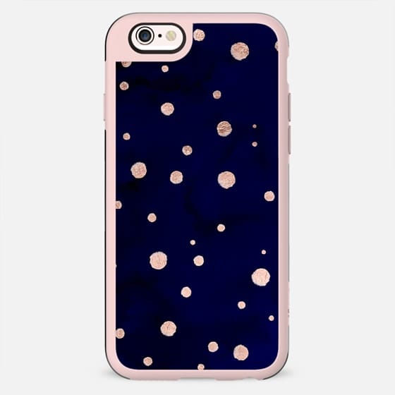 Modern hand painted rose gold polka dots on navy blue watercolor paint by Girly Trend - New Standard Case
