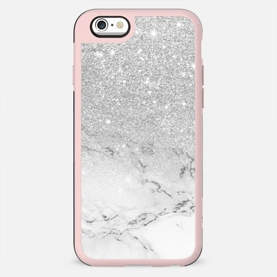 Modern faux grey silver glitter ombre white marble by Girly Trend - New Standard Case