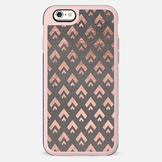 Faux rose gold foil triangles chevron pattern geometric grey concrete cement by Girly Trend - New Standard Case