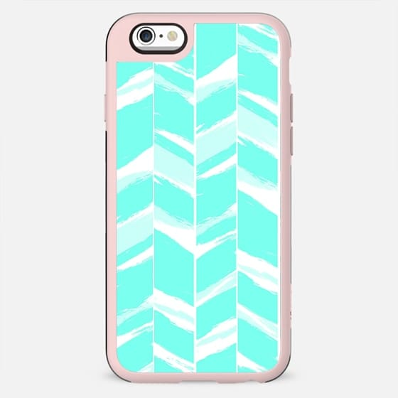Modern abstract turquoise teal geometric chevron pattern by Girly Trend - New Standard Case