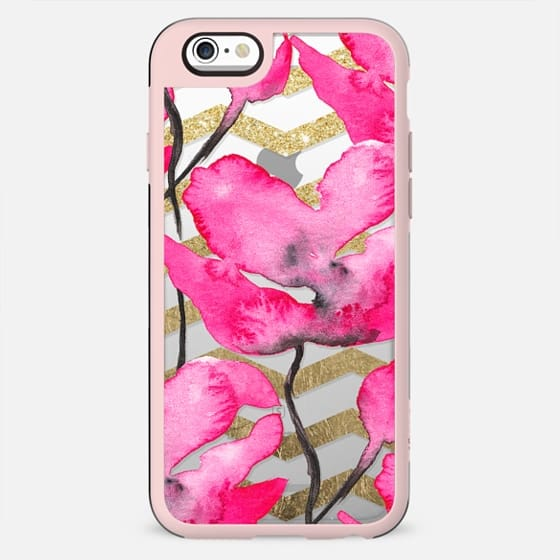 Modern neon pink floral watercolor black pattern gold chevron pattern transparent by Girly Trend