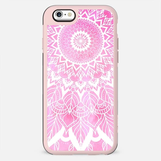 Boho chic white floral mandala on neon pink watercolor tie dye big by Girly Trend - New Standard Case