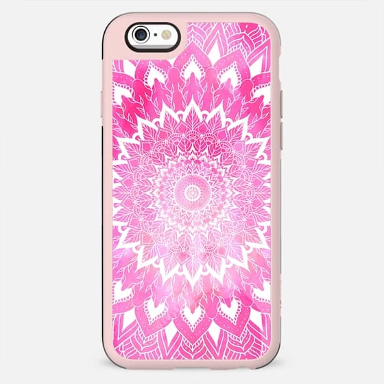 Boho chic white floral mandala on neon pink watercolor tie dye by Girly Trend - New Standard Case