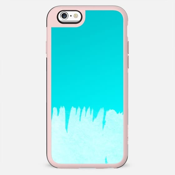 Modern turquoise ombre white abstract watercolor brushstrokes by Girly Trend - New Standard Case