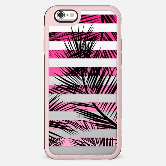 Tropical neon pink pastel ombre gradient palm tree transparent geometric stripes by Girly Trend