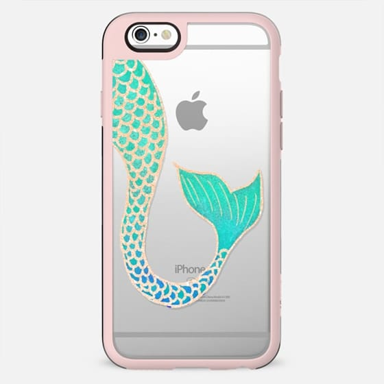 Trendy turquoise teal blue rose gold mermaid tail illustration by Girly Trend - New Standard Case