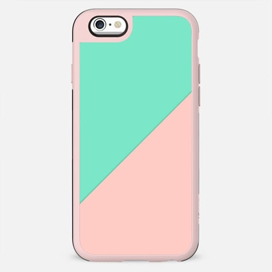Simple minimalist pink mint green abstract geometric color block by Girly Trend - New Standard Case