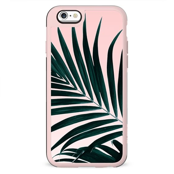 Modern tropical palm tree photography pastel pink ombre gradient by Girly Trend