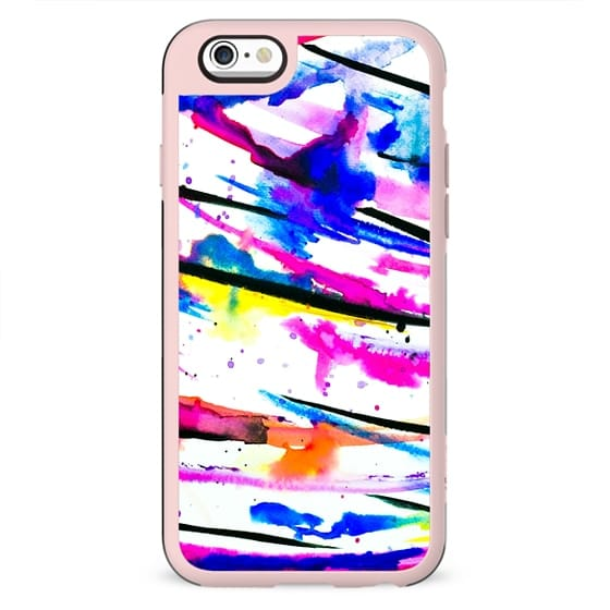 Modern bright abstract pink black multicolor watercolor brushstrokes painting by Girly Trend