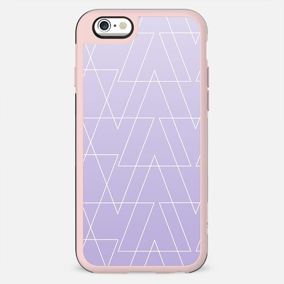 Modern white geometric triangles pattern on purple lavender ombre white gradient by Girly Trend - New Standard Case