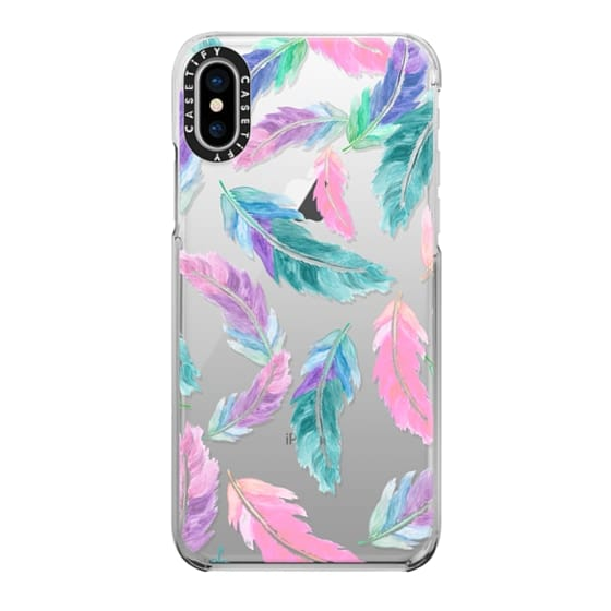 iPhone X Cases - Pastel pink turquoise watercolor feathers pattern  by Girly Trend