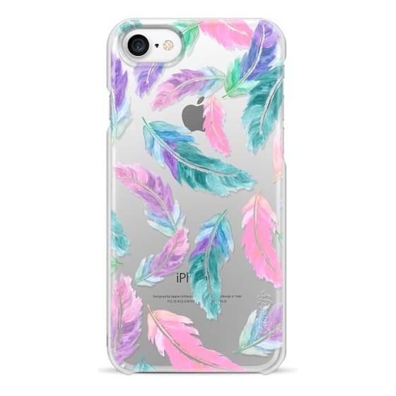 iPhone 7 Cases - Pastel pink turquoise watercolor feathers pattern  by Girly Trend