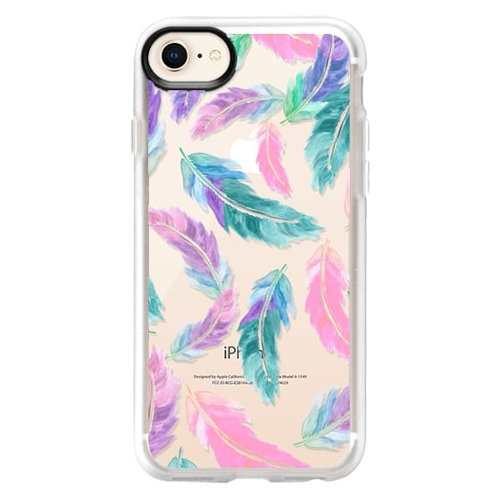 iPhone 8 Cases - Pastel pink turquoise watercolor feathers pattern  by Girly Trend