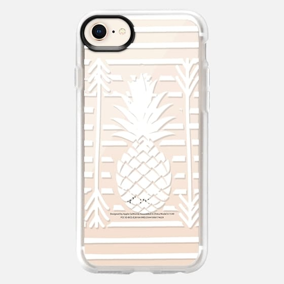 Modern white arrows atripes pineapple illustration by Girly Trend