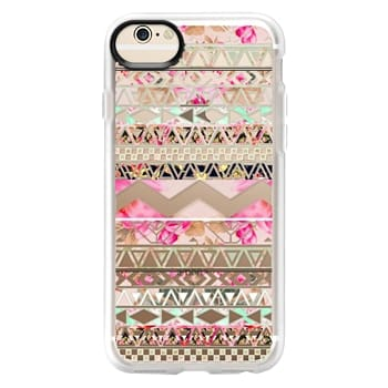 Grip iPhone 6 Case - Pink floral aztec pattern transparent by Girly Trend