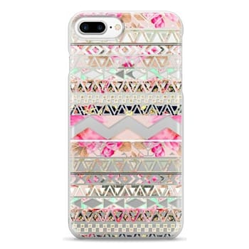 Snap iPhone 7 Plus Case - Pink floral aztec pattern transparent by Girly Trend