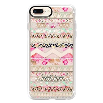 Grip iPhone 8 Plus Case - Pink floral aztec pattern transparent by Girly Trend