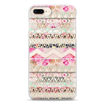 Snap iPhone 8 Plus Case - Pink floral aztec pattern transparent by Girly Trend