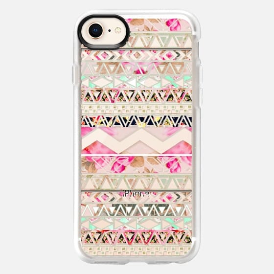 Pink floral aztec pattern transparent by Girly Trend